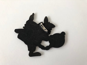 Dancing Rabbits in Boots - Sleeping Beauty - Laser Cut Wood Brooch