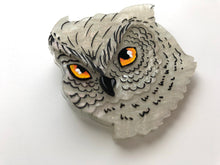 Load image into Gallery viewer, Pearlescent White Snowy Owl - Laser Cut Acrylic Brooch