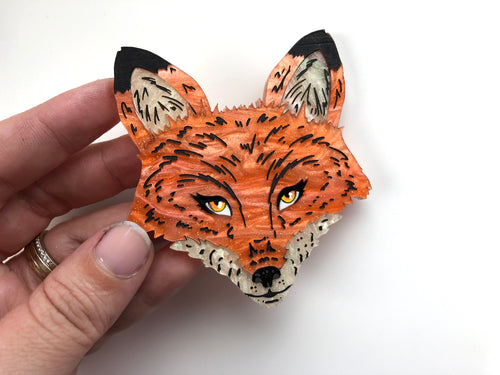 Pearlescent Fox - Laser Cut Acrylic Brooch