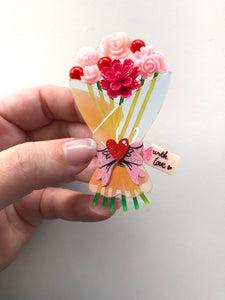 Surprise Love Floral Bouquet - Laser Cut Acrylic Brooch