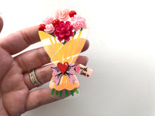 Load image into Gallery viewer, Surprise Love Floral Bouquet - Laser Cut Acrylic Brooch