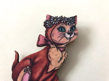 Load image into Gallery viewer, Dinah - Alice in Wonderland - Laser Cut Wood Brooch