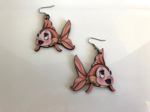 Cleo Fish - Pinocchio - Laser Cut Wood Dangle Earrings