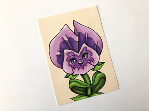 Purple Pansies - Flower Garden - Alice in Wonderland - Postcard