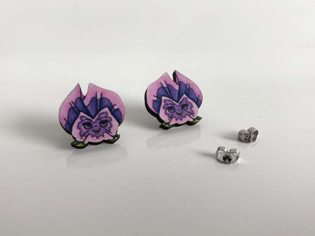 Pansies Flowers - Alice in Wonderland - Purple - Laser Cut Wood Stud Earrings