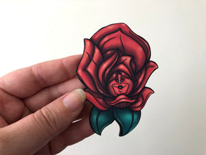 Red Rose - Alice in Wonderland - Laser Cut Wood Brooch