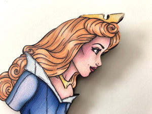 Princess Profile - Aurora BLUE - Sleeping Beauty - Laser Cut Wood Brooch