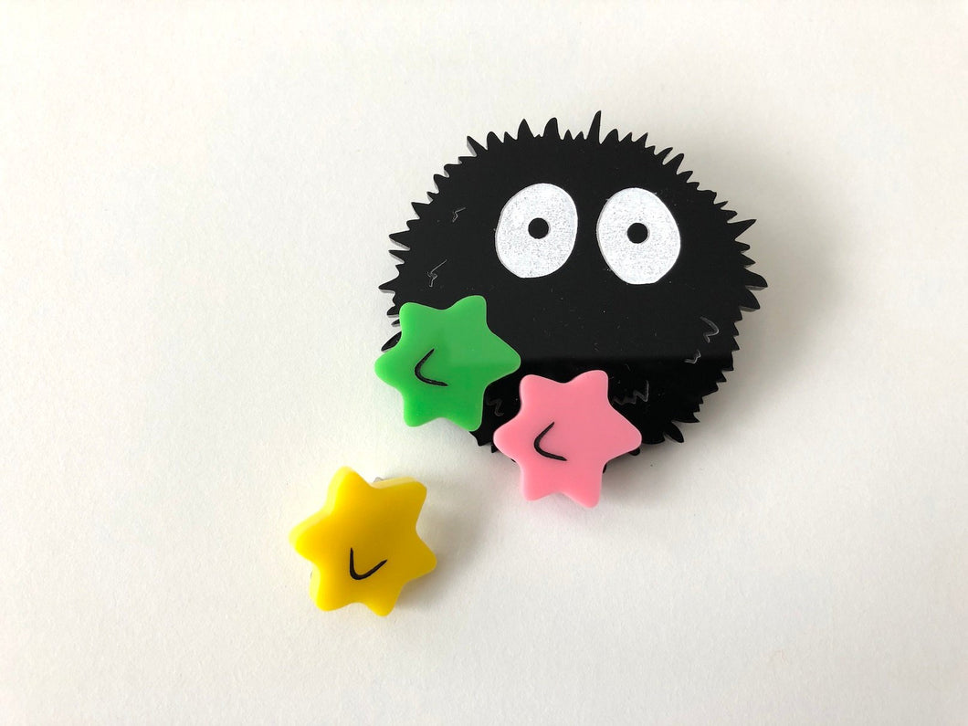 Soot Sprite 2 - Part Laser Cut Acrylic Brooch