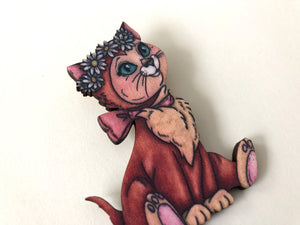 Dinah - Alice in Wonderland - Laser Cut Wood Brooch