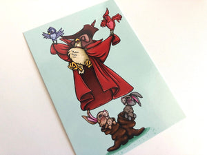 Woodland Creatures - Owl Rabbits and Birds Dancing - Sleeping Beauty - Postcard