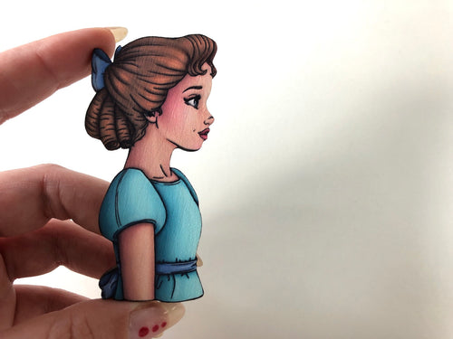 Wendy Darling - Peter Pan - Oversized Laser Cut Wood Brooch