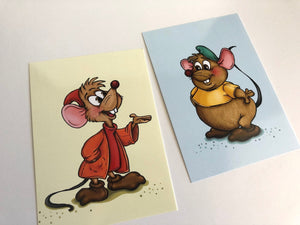 Gus and Jaq Mouse - Cinderella - Profile Postcard Set of Two