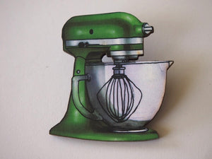 Green Baker Mixer Laser Cut Wood Brooch