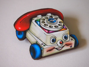 Chatter Phone Retro Laser Cut Wood Brooch