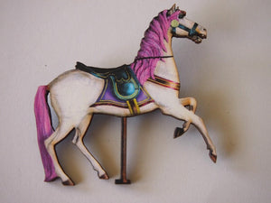 Rainbow Carousel Horse in Pink Laser Cut Wood Brooch