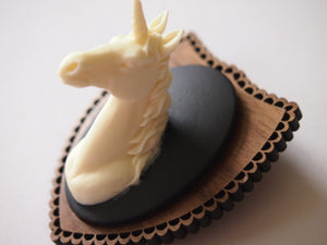 Mounted Unicorn Head on Dark Wood Laser Cut Wood Brooch