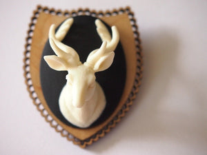 Mounted Deer Head on Light Wood Laser Cut Wood Brooch