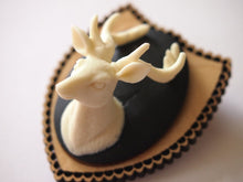 Load image into Gallery viewer, Mounted Deer Head on Light Wood Laser Cut Wood Brooch