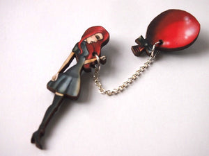 Red Balloon Girl 2 Part Laser Cut Wood Brooch