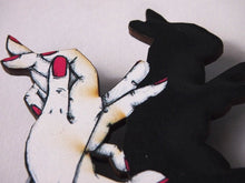 Load image into Gallery viewer, Bunny Rabbit Shadow Puppets with Pink Nails Laser Cut Wood Brooch