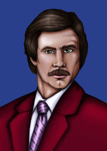 Ron Burgundy Anchorman A4 Art Print by Hungry Designs