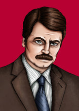 Load image into Gallery viewer, Ron Swanson Parks and Recreation A4 Art Print by Hungry Designs