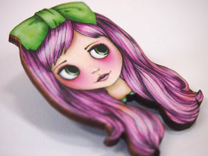 Watermelon Pink and Green Blythe Doll Girl Laser Cut Wood Brooch