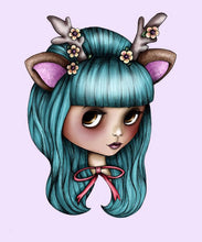 Load image into Gallery viewer, Teal and Pink Deer Blythe Doll A4 Art Print by Hungry Designs