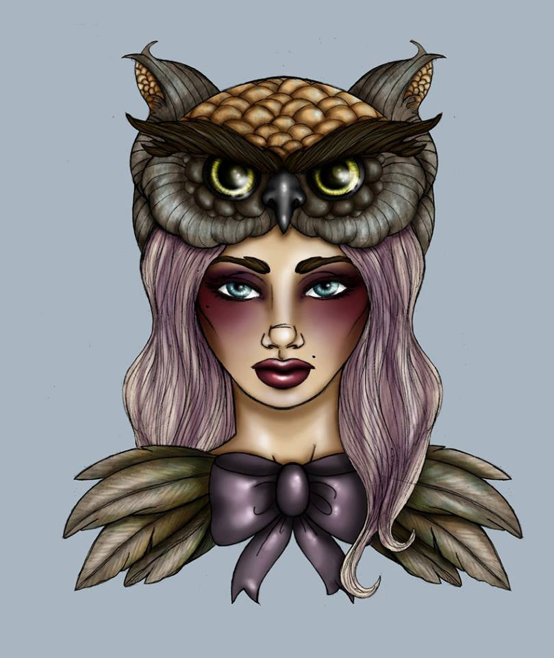 Owl  A4 Art Print by Hungry Designs