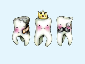 Teeth - Crowned Tooth, Rotten Tooth and Wisdom Tooth A4 Art Print by Hungry Designs