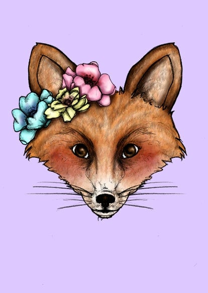Floral Fox A4 Art Print by Hungry Designs