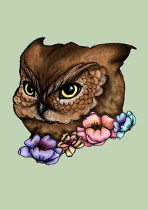 Floral Owl A4 Art Print by Hungry Designs