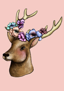 Floral Deer A4 Art Print by Hungry Designs