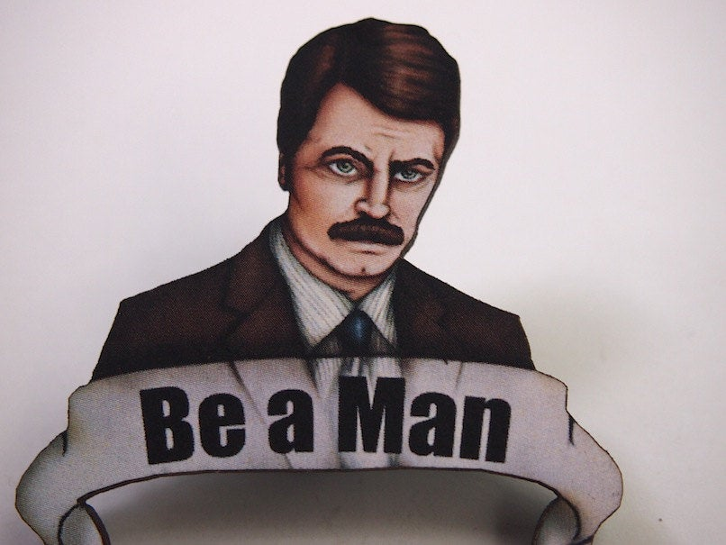 Ron Swanson Be a Man Parks and Recreation Laser Cut Wood Brooch