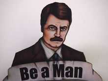 Load image into Gallery viewer, Ron Swanson Be a Man Parks and Recreation Laser Cut Wood Brooch
