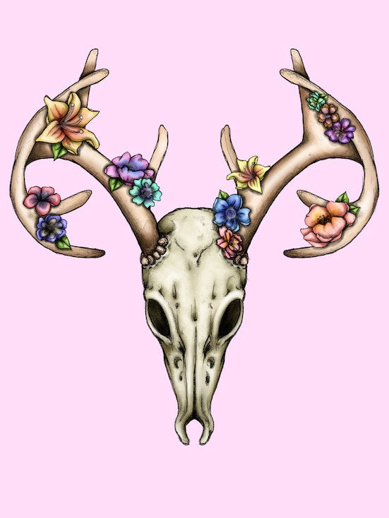 Floral Deer Stag Skull A4 Art Print by Hungry Designs