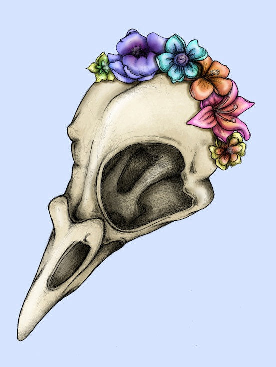 Floral Bird Skull A4 Art Print by Hungry Designs
