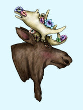 Load image into Gallery viewer, Floral Moose A4 Art Print by Hungry Designs