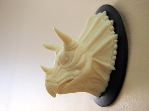 Ivory and Black Mounted Dinosaur Triceratops Head Wall Hanging