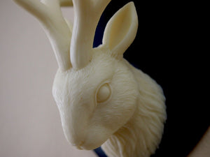 Ivory and Black Mounted Jackalope Head Wall Hanging