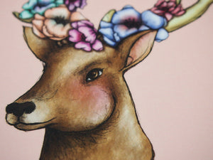 Illustrated Floral Deer Postcard