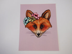 Illustrated Floral Fox Postcard