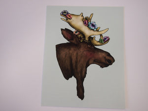 Illustrated Floral Moose Postcard