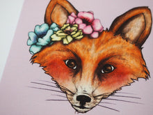 Load image into Gallery viewer, Illustrated Floral Fox Postcard