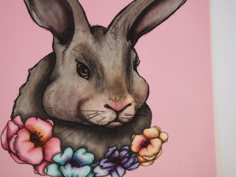 Illustrated Floral Rabbit Postcard