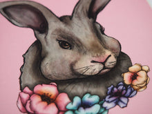 Load image into Gallery viewer, Illustrated Floral Rabbit Postcard