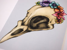 Load image into Gallery viewer, Illustrated Floral Bird Skull Postcard