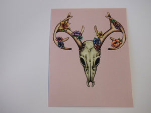 Illustrated Floral Stag Skull Postcard
