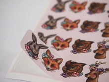 Load image into Gallery viewer, Sheet of Stickers - Floral Woodland Animals