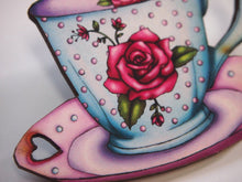 Load image into Gallery viewer, Rose Teacup and Saucer Laser Cut Wood Brooch